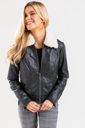 francesca's Nikki Sherpa Lined Jacket - Black