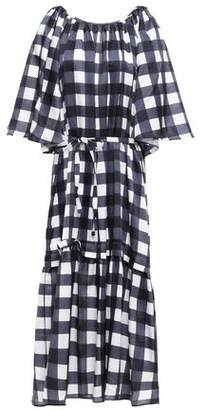 Mother of Pearl Lilian Velvet-trimmed Checked Cotton And Silk-blend Midi Dress
