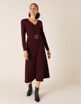 Monsoon Belted Knit Midi Dress Red