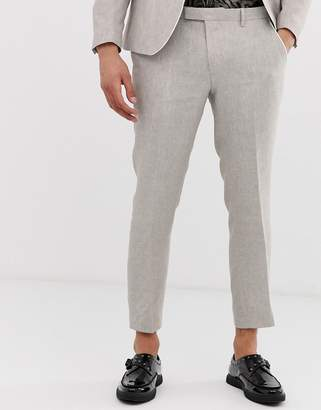 Twisted Tailor cropped tapered trouser with pipping in grey-Stone