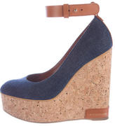 Sergio Rossi Denim Ankle Strap Wedges