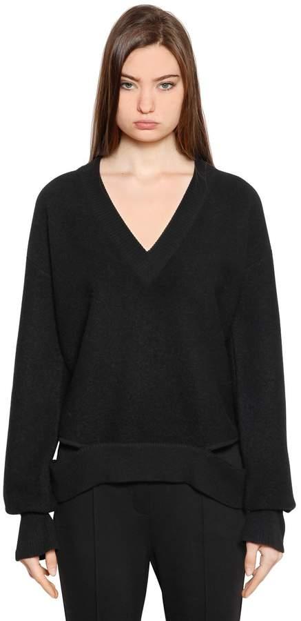 Designers Remix Bailee V Neck Wool Cutout Sweater