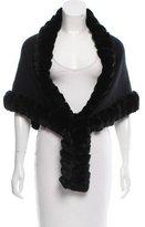 Glamour Puss Glamourpuss Fur-Trimmed Knit Shawl