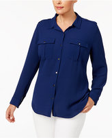 NY Collection Plus Size Crepe Utility Shirt