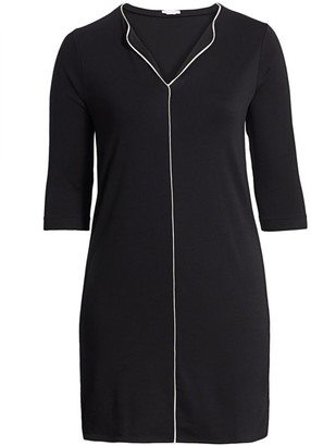 Joan Vass, Plus Size Contrast Piping Shift Dress