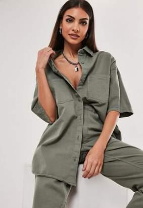 Missguided Green Co Ord Denim Short Sleeve Shirt