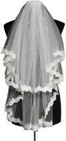 Chickle Women's Lace Applique Short Bridal Comb Wedding Veils Off White