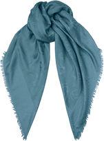 Jimmy Choo H6S071480 Blue Medium Silk and Wool Scarf