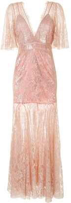 Alice McCall Embroidered Metallic-Thread Maxi Dress