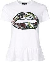 Markus Lupfer Artic Flower Lip peplum T-shirt