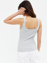 Thumbnail for your product : New Look 3 Pack Frill Hem Vest - Black White Grey