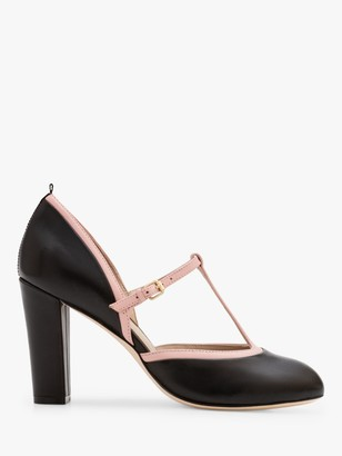 Boden Laurie T-Bar Leather Court Shoes, Black/Milkshake