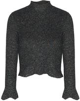 Balenciaga Metallic Knit Cropped Sweater