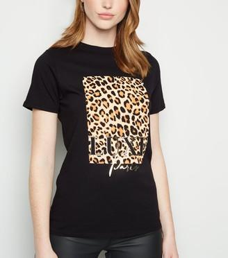 New Look Tall Animal Print Box Luxe Slogan T-Shirt