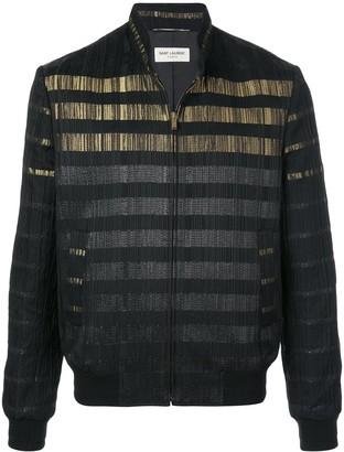 Saint Laurent Ribbed Metallic Striped Bomber Jacket