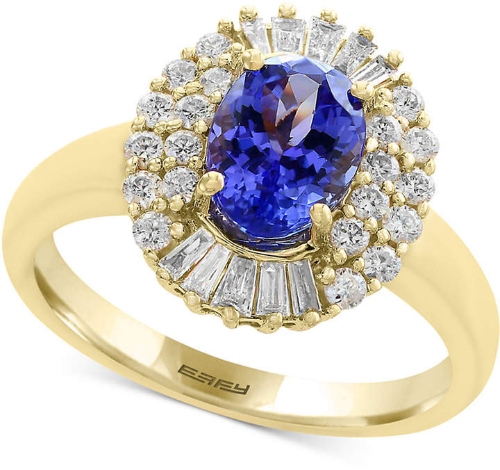 Effy Tanzanite Royale by Tanzanite (1-1/8 ct. t.w.) and Diamond (1/2 ct. t.w.) Ring in 14k Gold