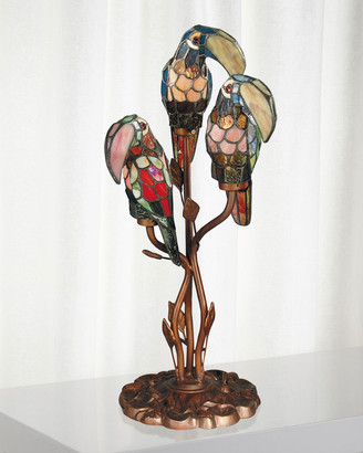 Dale Tiffany Three Parrots Tiffany Table Lamp