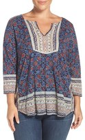 Lucky Brand Plus Size Women's Print Block Split Neck Top