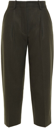 Acne Studios Cropped Pleated Melange Wool-blend Flannel Tapered Pants
