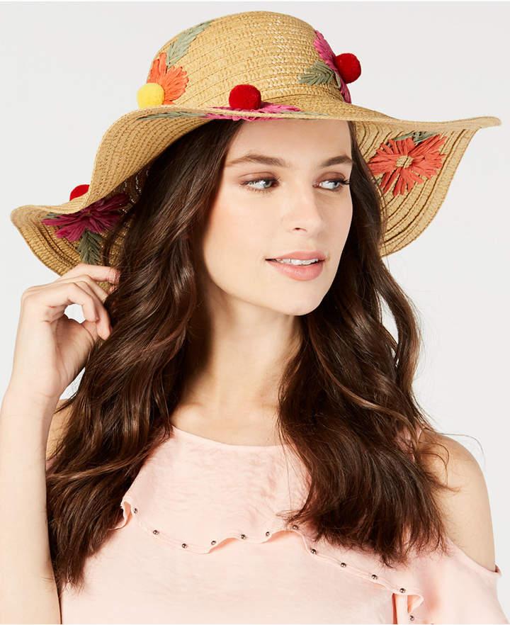 Betsey Johnson Floral Bliss Pom Pom Floppy Hat