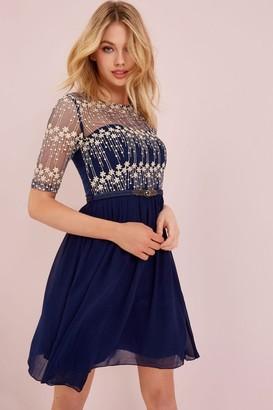 Little Mistress Navy Mesh Embroidered Dress