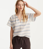 LOFT Lou & Grey Striped Cropped Pop-On Shirt