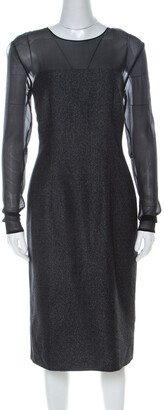 Escada Metallic Grey Wool Blend Sheer Yoke Dariello Pencil Dress L