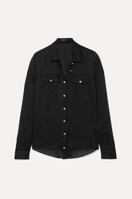 Balmain Silk-satin Shirt - Black