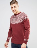 Bellfield Crew Neck Jacquard Knitted Sweater
