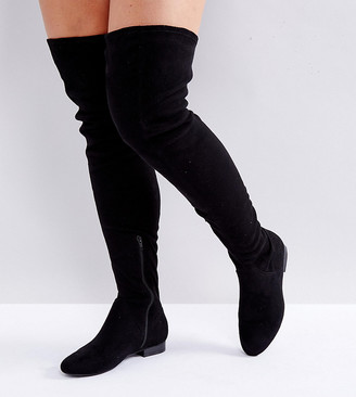 Asos Design KASBA Wide Fit Flat Over The Knee Boots-Black