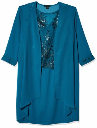 Le Bos Women's Duster Lace Embellished Jacket Dress