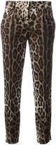 Dolce & Gabbana leopard print cropped trousers - women - Cotton/Spandex/Elastane - 40