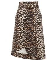 Ganni Leopard-print Cotton-denim Wrap Skirt - Womens - Leopard