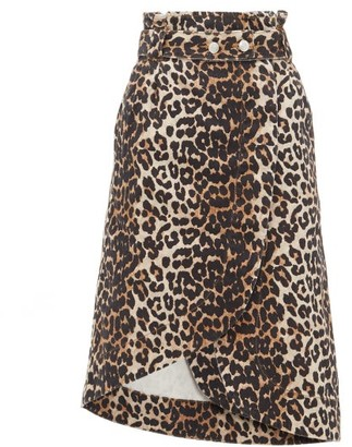 Ganni Leopard-print Cotton-denim Wrap Skirt - Womens - Leopard