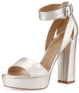 Stuart Weitzman Mostly Platform Leather Sandal, Pearl