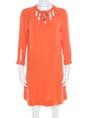 Diane von Furstenberg Orange Long Sleeve Kea Dress M