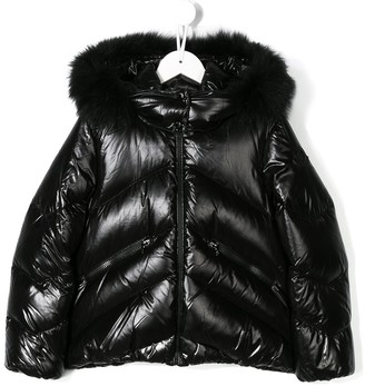 Moncler Enfant Faux Fur Trim Hooded Jacket