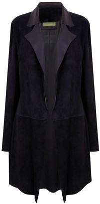 Zut London Long Classic Suede Leather Jacket With Side Pockets - Dark Navy