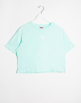The North Face central logo crop t-shirt in blue