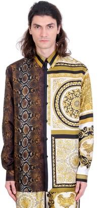 Versace Shirt In Gold Silk