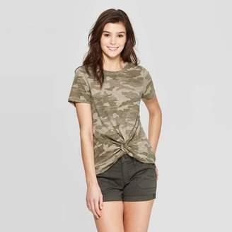 Women's Short Sleeve Crew Neck Twist Front T-Shirt - Universal ThreadTM Green