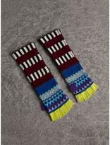 Burberry Striped Fair Isle Cashmere Wool Fingerless Gloves