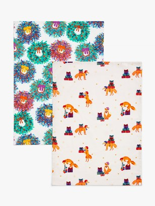 John Lewis & Partners Bloomsbury Tea Towels, Pack of 2, Blue/Multi