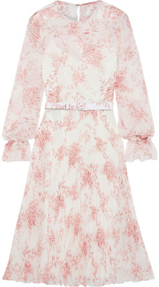 Mikael Aghal Belted Pleated Floral-print Chiffon Dress