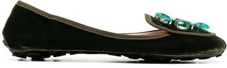 Car Shoe Crystal-Embellished Velvet Flats