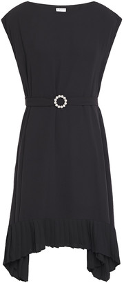 Claudie Pierlot Asymmetric Faux Pearl-embellished Belted Crepe De Chine Dress
