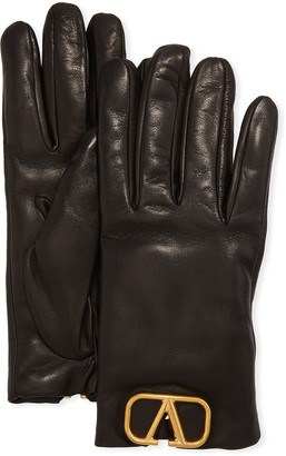Valentino VLOGO Leather Gloves w/ Cashmere Lining