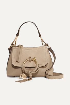 See by Chloe Joan Mini Textured-leather And Suede Shoulder Bag - Gray