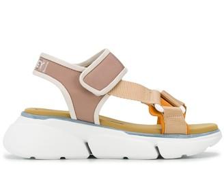 Grey Mer Touch-Strap Platform Sandals