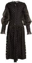 Loewe Polka Dot-print Smocked Silk And Cotton Dress - Womens - Black